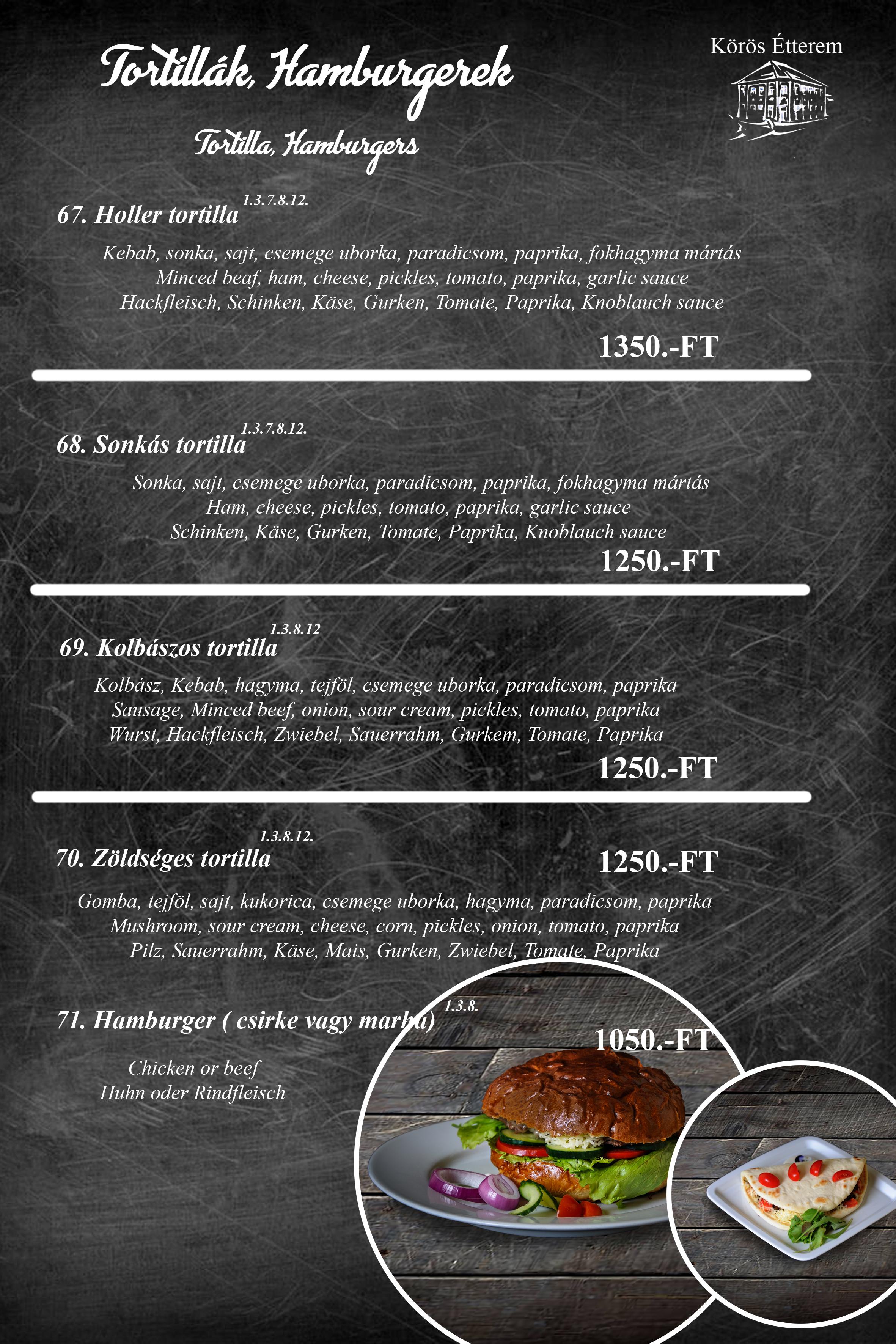 Tortillák, Hamburgerek